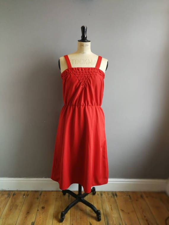 Red vintage dress / polyester red strap dress / red Christmas dress / 70s thick polyester dress / boho retro red dress with beading UK 10 12