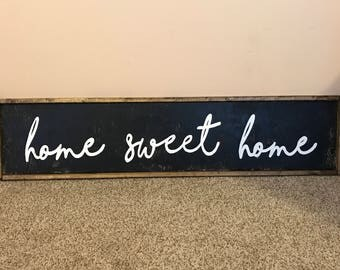 "10""x48"" Home Sweet Home Farmhouse Wooden Sign"