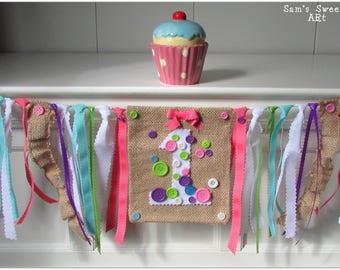 Button Highchair Banner, Button First Birthday Banner, Button Smash Cake Prop, Pink High Chair Banner, Cute As a Button, Button Birthday