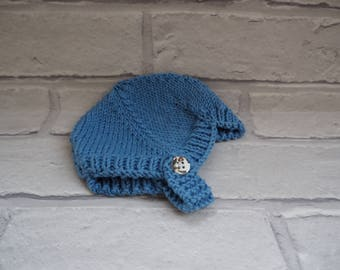 baby boy helmet/hand knitted baby hat/baby bonnet/baby ear flap hat/baby shower gift/baby christening hat/baby boy knitted ear flap helmet