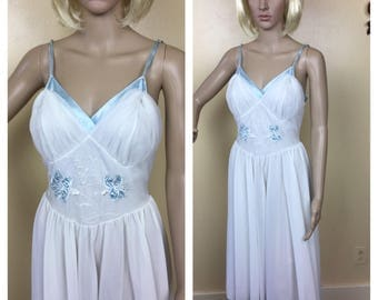 Vintage , 50s LINGERIE , 1950S Nightgown , white  Bridal  , nightie lingerie , sky blue , Embroidered Slip Dress