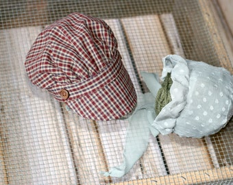newborn photo prop boy girl newsboy hat vintage style ruffled bonnet