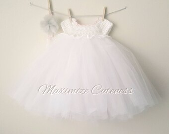 Crochet Tutu Dress, Baby Girl Dress, Crochet Tulle Dress, Tulle Dress, First Birthday, White and Pink, Christening Gown, Photography Prop