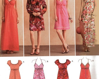 LONG or KNEE Length DRESSES New Look Pattern 6096 Misses Sizes 4 6 8 10 12 14 16