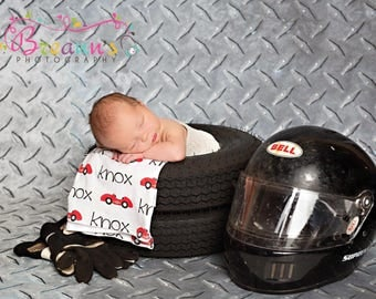 Personalized baby racecar car name swaddle blanket: baby and toddler personalized name newborn hospital gift baby shower gift