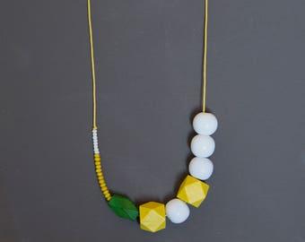 Assymetric necklace Boho necklace Beadwork necklace Green Yellow necklace White necklace Geometric necklace Wooden Glass necklace Metal free