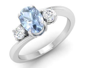 Aquamarine Engagement Ring, 14K White Gold, Anniversary Ring, Wedding Ring, Oval Cut Engagement Ring, Aquamarine Birthstone Ring, Gold Ring