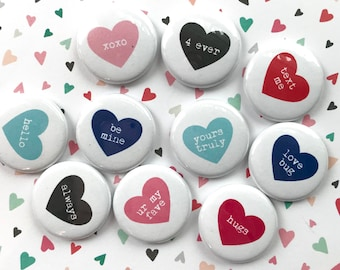 TYPEWRITER HEARTS flair buttons pin badge crafting planner scrapbooking valentine's day set of 10