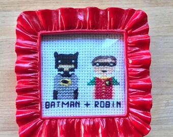 Batman and Robin Cross Stitch Portrait