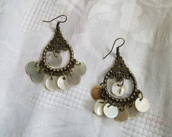 Antique brass chandelier earrings with white mussel shells