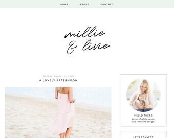 Blogger Template Premade Blog Design - Millie & Livie - Responsive Blogger Theme - Fashion Blog Design - Blogger Templates - Lifestyle Blog