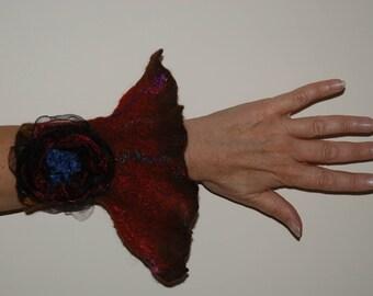 Felted Women Accessory Felted cuff Felted Bracelet merino wool