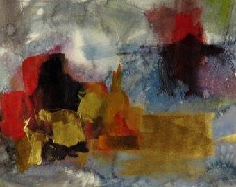 """Oceans Treasures - Original Abstract Watercolor Ink, and Acrylic Painting 12"""" x 20"""""""