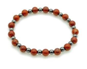 Red Jasper & Magnetic Hematite Bracelet on stretch cord