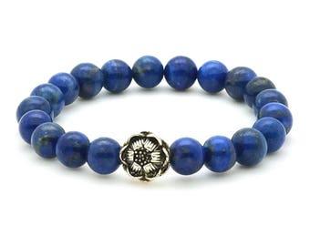 Lapis Lotus Bracelet on stretch cord