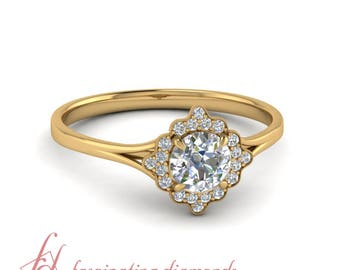Vintage Halo Engagement Ring 0.60 Ct. Round Cut Diamond In 14K Yellow Gold GIA Certified