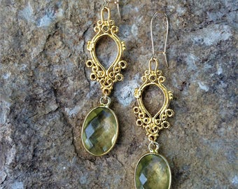 Green Amethyst earrings, forest girl, healing crystal, yoga gift, hippie jewelry, handmade, gold 24k vermeil, filigrain gold, green amethyst