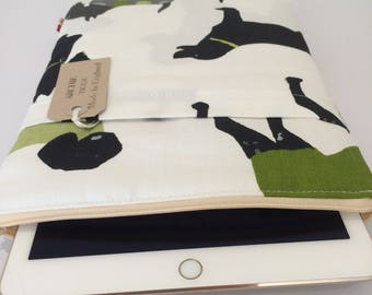 ipad Air 2 scratch cover - Man's best friend Green and White Doggie fabric