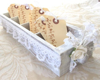 Wedding Shower Decoration - Vintage Drawer - Distressed Drawer - Wedding Shower Box with Tags - Mini Library Drawer - Altered Library Drawer