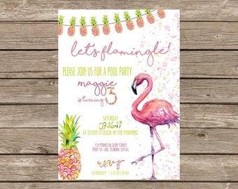 Flamingo Pineapple Birthday Invitation with Coordinating Back