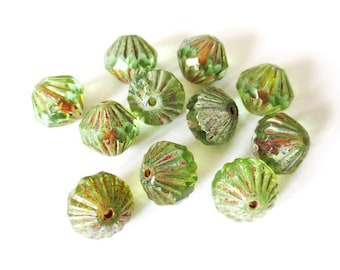 4 9mm Transparent green/Picasso Baroque Czech glass beads