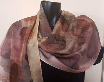 Eco printed 8mm silk habotai scarf
