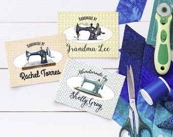 """Custom Fabric Labels ,Sew-on, Iron-on, 24 Labels,   3""""W x 2.25""""H,  Uncut, Your Name Added, Colorfast 100% Preshrunk Cotton"""
