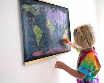 Erasable map etsy ready to ship the world chalkboard map black white world map geography gumiabroncs Gallery