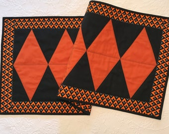 Quilted Orange and Black Halloween Table Runner, Halloween Decor, Diamond Table Runner