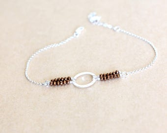 Round peg hammered beaded Sterling Silver 925