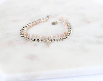 Double chain bracelet and 925 sterling silver stones