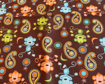 Fabric coupon Brown monkeys 50 x 70 cm