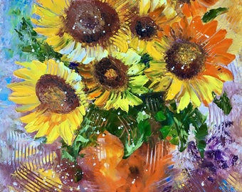 Palette Knife Oil Painting Original painting Flower wall art Home decor Kitchen décor Gift for mother of bride Still life painting