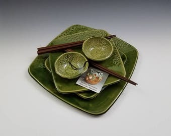 Handmade Stoneware Pottery Sushi Set for Two