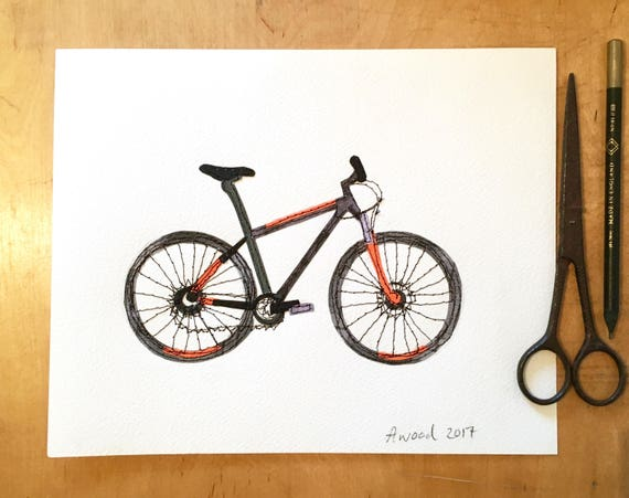 Bicycle- stitched mixed media- original art