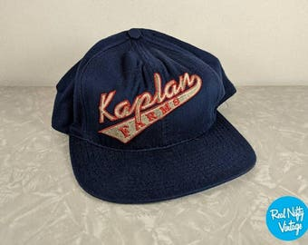 Vintage Kaplan Farms Cap - Navy Blue Adjustable Cap - Made in USA - Silver and Red Thread