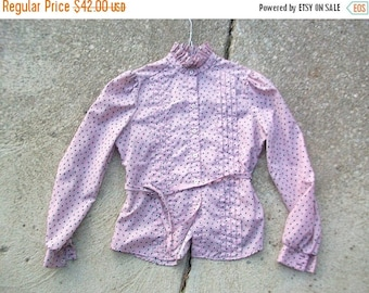 CLEARANCE Vintage Blouse, Pink Blouse, Vintage Pink Blouse, Ruffle Neck Blouse, Acorn Print Blouse, Button Down, Pink Shirt, Ruffle Neck Shi