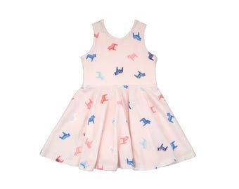 Dala Pink Horses Tank Mini Twirl Dress
