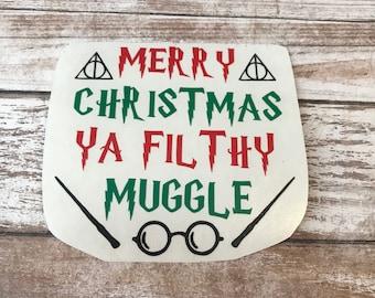Merry Christmas Ya Filthy Muggle Vinyl Decal Car Laptop Wine Glass Sticker