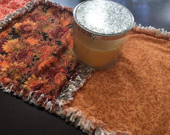 READY to SHIP GIFT: Thanksgiving table runner - Thanksgiving decor - Thanksgiving rag quilt table runner - autumn decoration - fall decor