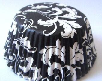 Set of 20 boxes cupcakes - floral-white/black pattern-