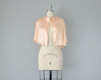 30s Capelet // 1930's Peach Silk Satin Capelet // S, M, L