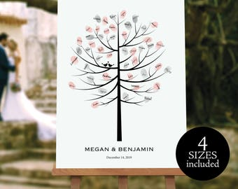 Wedding Guest Tree, Leaf a Print, Sign Your Name, Wedding Sign, Wedding Printable, Fingerprint Tree, PDF Instant Download, MM01-1