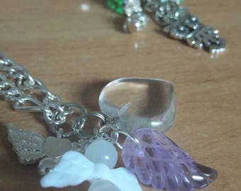 Clear Quartz Pendent with Angel and Amethyst Wing Bead
