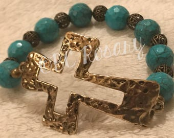 Antiqued Bronze Turquoise Magnesite Stretch Bracelet