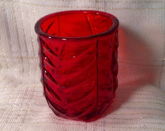 Vintage Ruby Red Viking Glass Candle Votive - Ripple, Vine Like Design - With Original Sticker - Valentines, Anniversary, Wedding