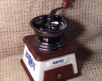 Vintage Hand Crank Coffee Grinder - Blue & White Ceramic, Kafe, Floral - French Style Country Kitchen Countertop Decor - Great Shape