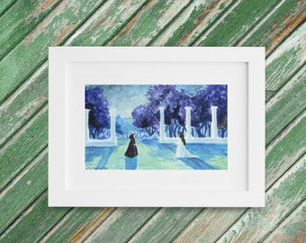 Woodland Fantasy Painting - Original Small Watercolor Painting - Mystic Nighttime Landscape - 9 x 5