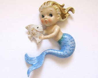 1950s Norcrest Mermaid, Blonde Haired, Blue Tail