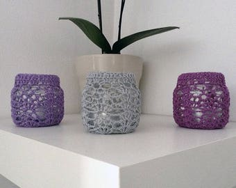 Colorful crochet candle jars